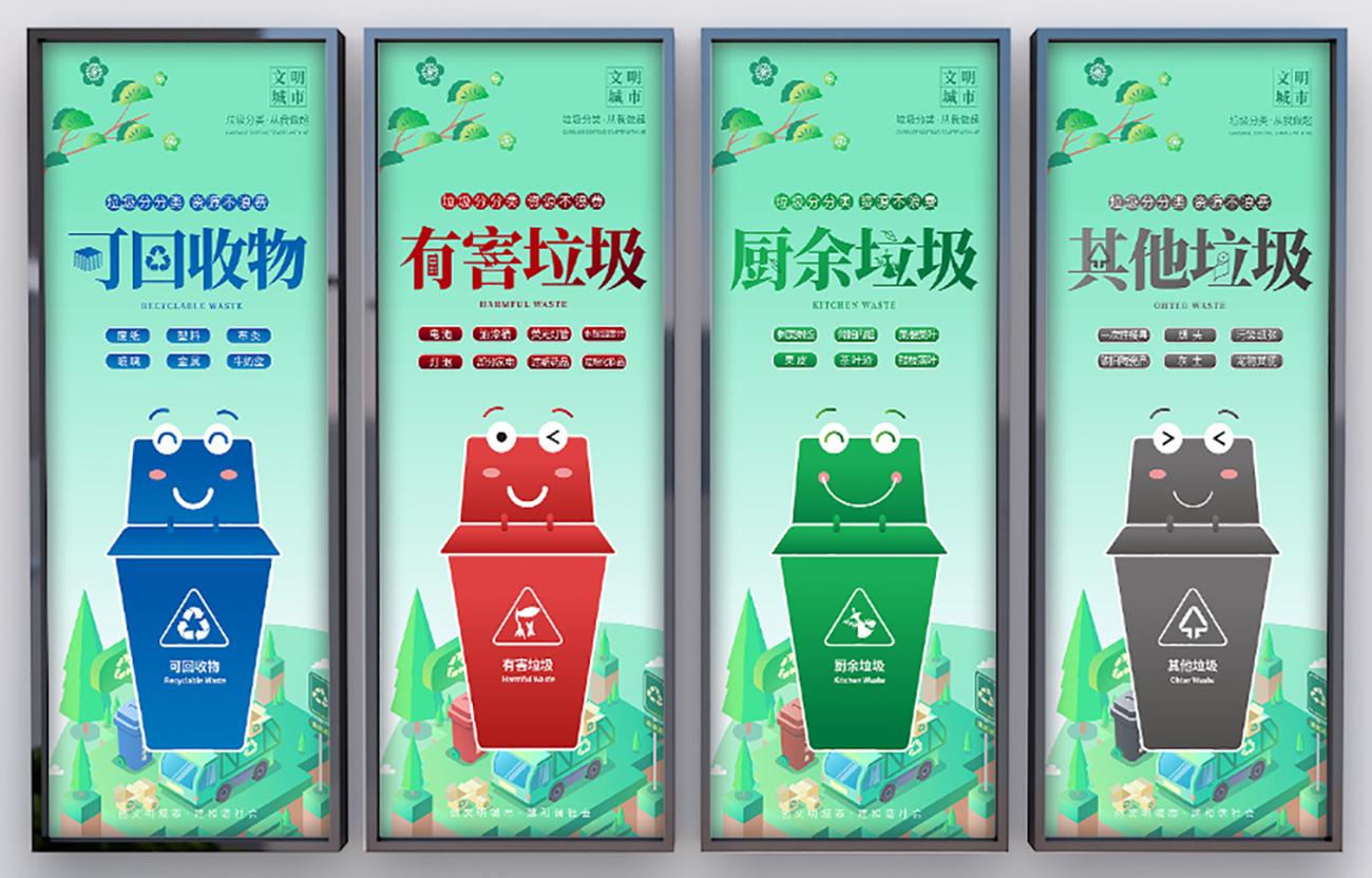 环保垃圾分类矢量展板PSD源文件插图
