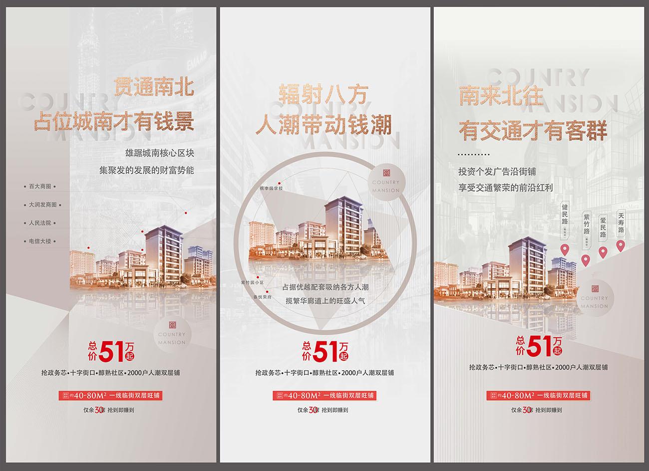 房地产沿街商铺价值点系列海报AI源文件插图