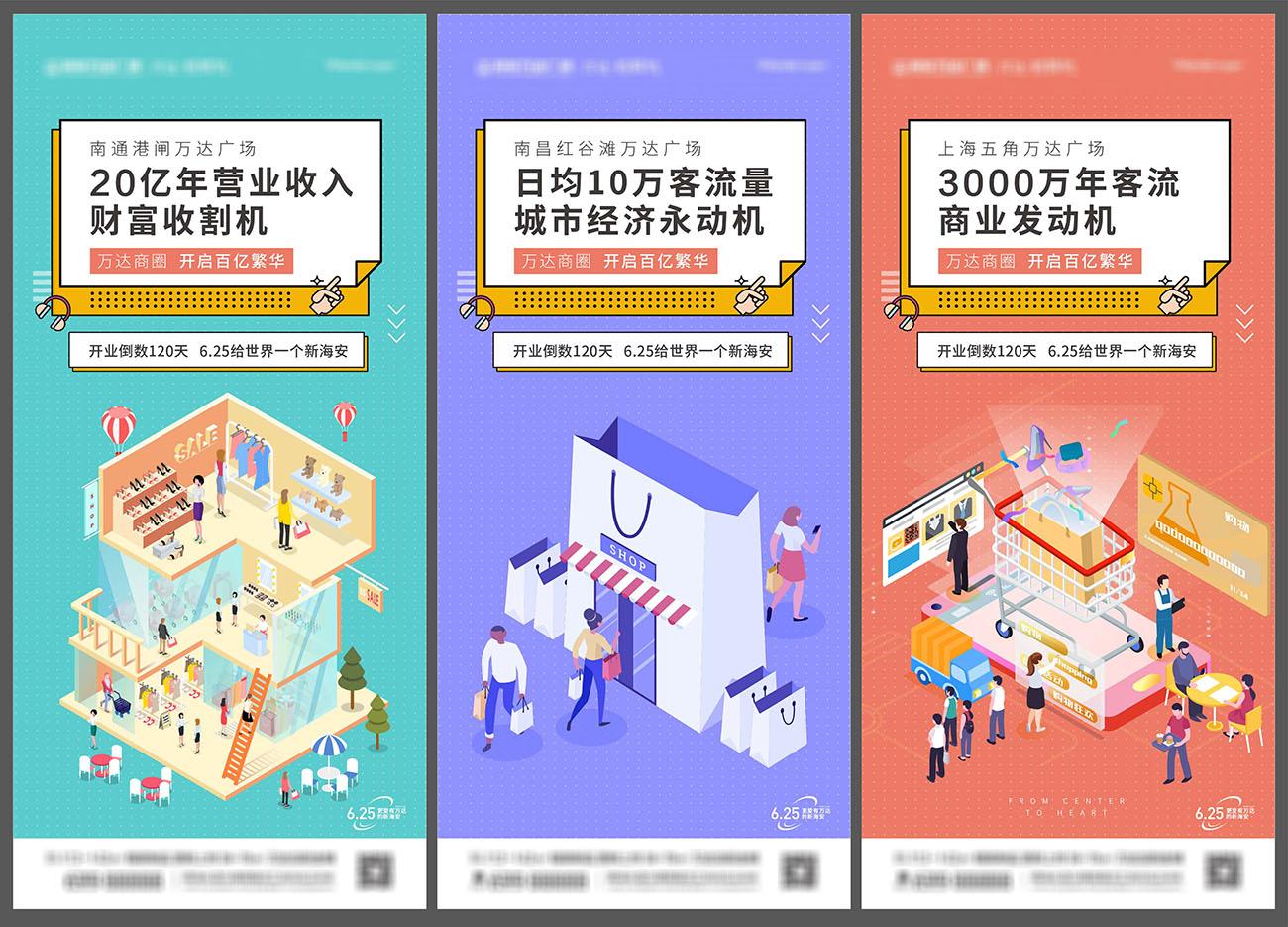 商业地产商业街商铺价值点系列海报AI源文件插图