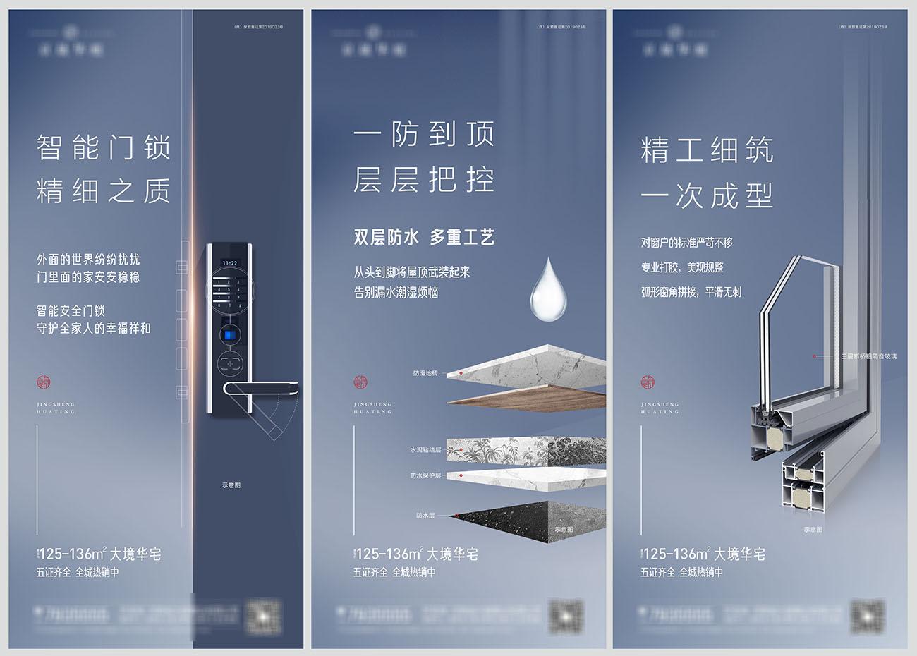 地产品质精工价值点系列海报CDR+PSD源文件插图