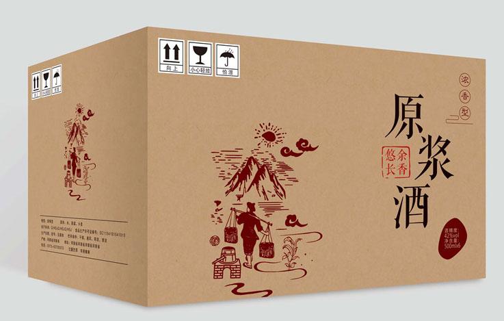原浆酒白酒牛皮纸外箱设计3 PSD源文件插图