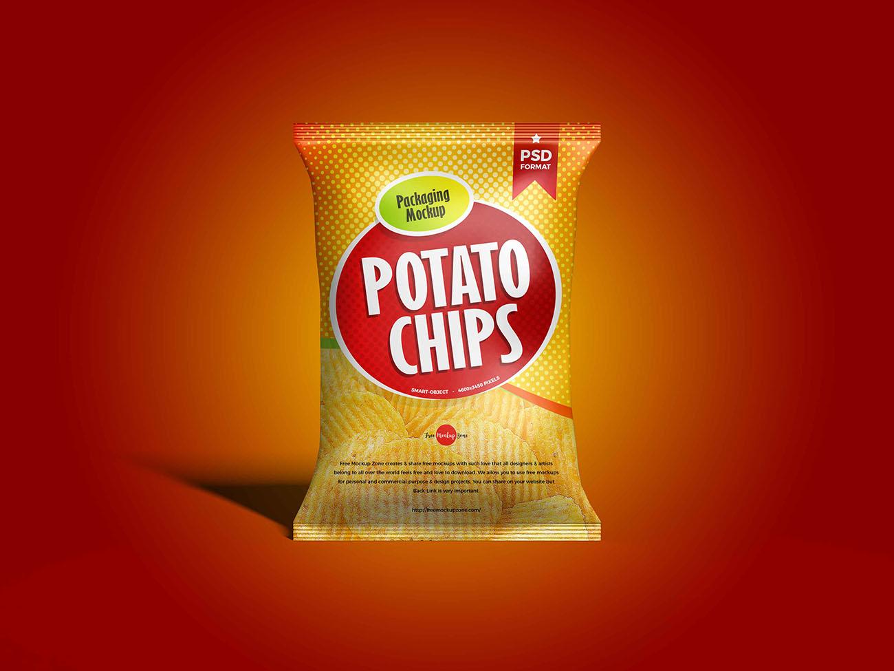 薯片食品包装袋模型样机PSD源文件插图