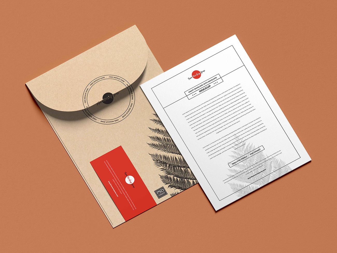 邀请函模型牛皮纸信封档案袋模型样机PSD源文件插图
