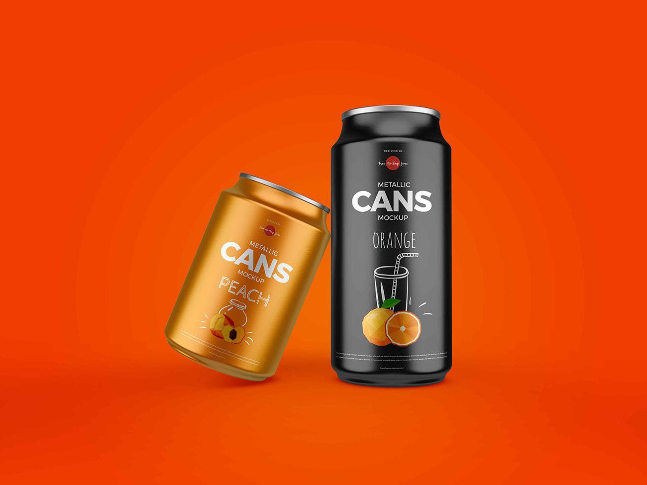 2个金属罐模型罐装饮料模型样机PSD源文件插图